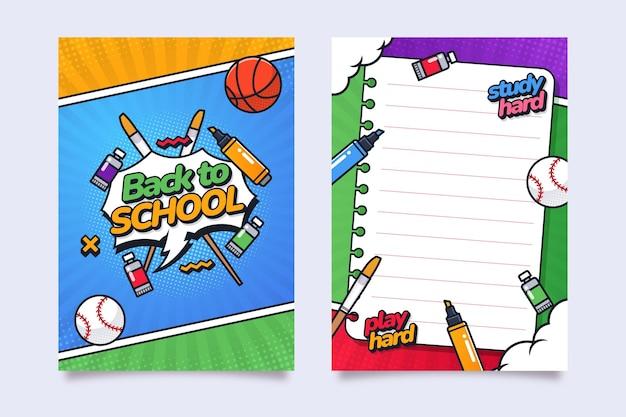 Modello di carta di ritorno piatto a scuola