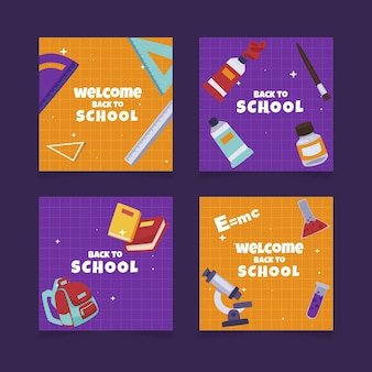 Flat back to school cards templates