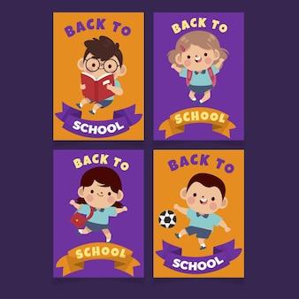 Modelli di carte di ritorno piatto a scuola