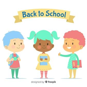 Flat back to school children