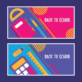 Flat back to school design set