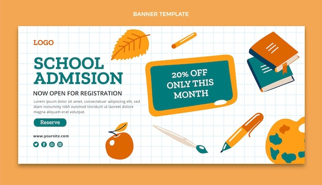 Flat back to school facebook cover
