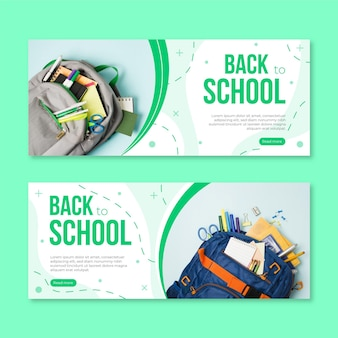 Flat back to school horizontal banners set with photo