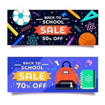Flat back to school horizontal banners set