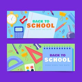 Set di banner orizzontali di ritorno a scuola piatta