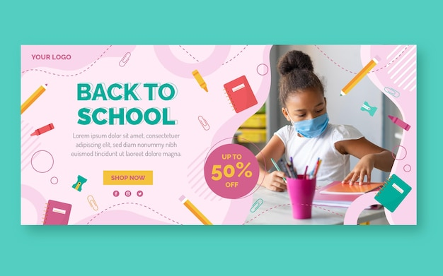 Flat back to school horizontal sale banner template