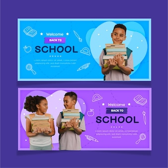 Flat back to school horizontal sale banners set with photo