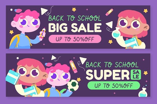 Set di banner di vendita orizzontale di ritorno a scuola piatta
