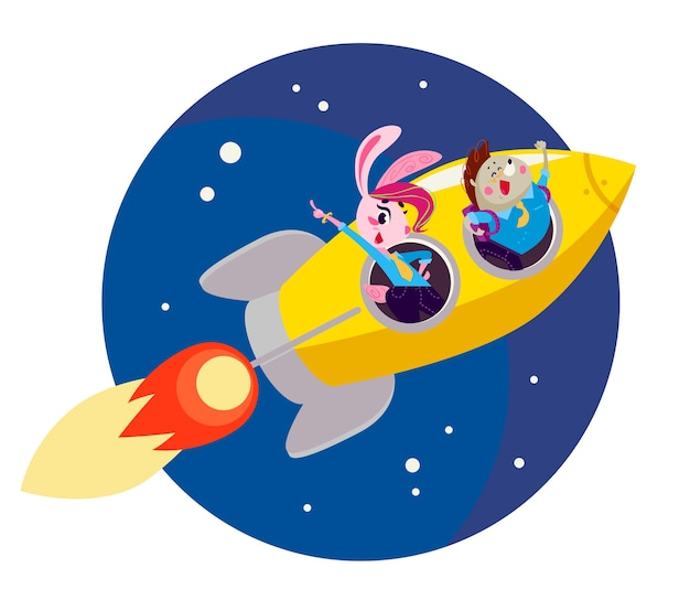 Flat back to school illustration with flying big yellow rocket on dark blue sky isolated.