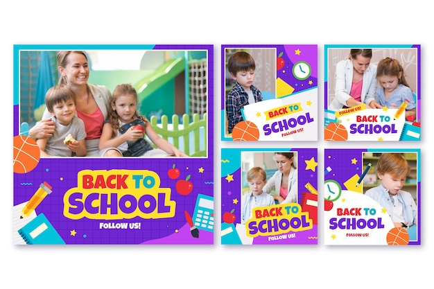Flat back to school instagram post collection con foto
