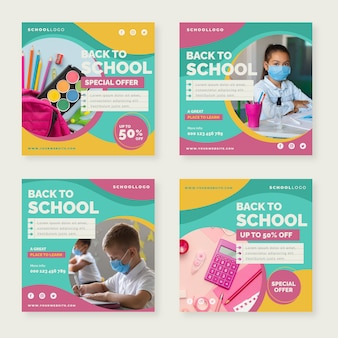 Flat back to school instagram posts collection with photo