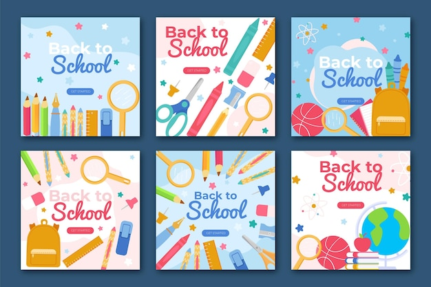 Flat back to school instagram posts collection