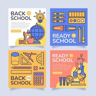 Flat back to school instagram post collection Vettore gratuito