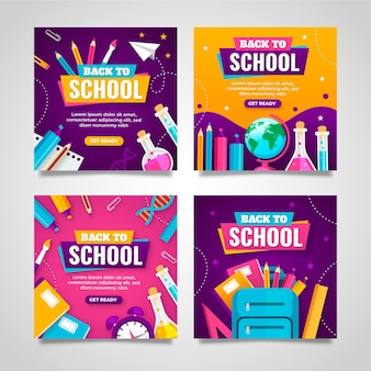 Flat back to school instagram post collection