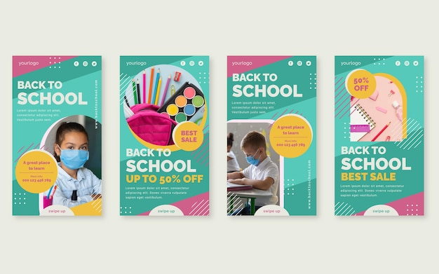 Flat back to school instagram stories collection with photo