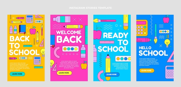 Flat back to school instagram stories collection