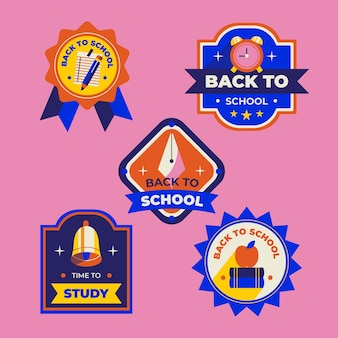 Flat back to school labels collection