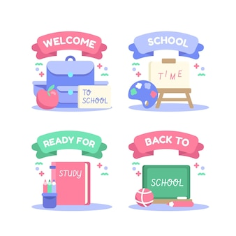 Ritorno piatto alla collezione di etichette scolastiche