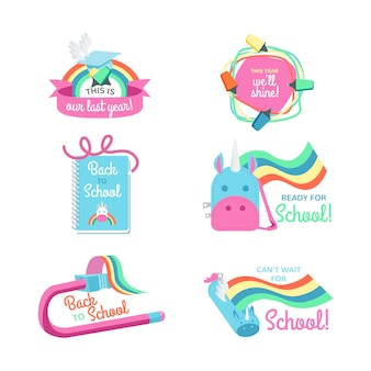 Flat back to school labels concept