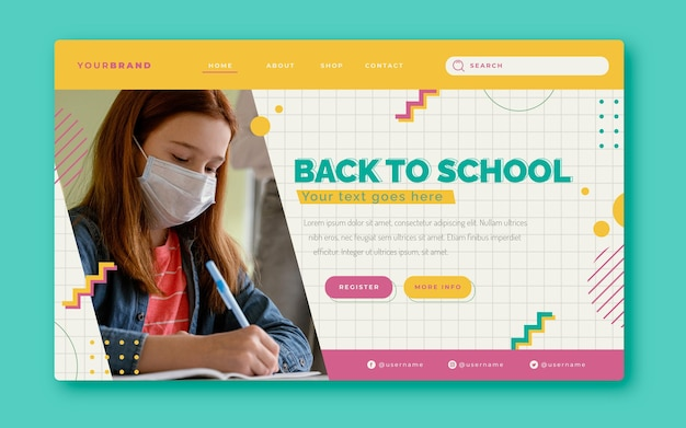 Flat back to school landing page template with photo