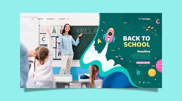 Modello di pagina di destinazione piatta per il ritorno a scuola con foto