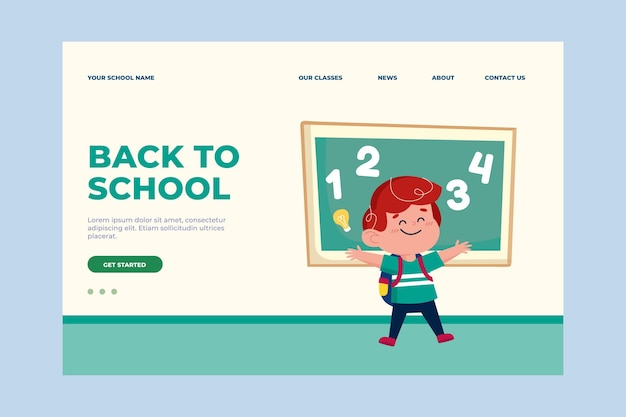 Flat back to school landing page template