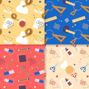Flat back to school pattern collection