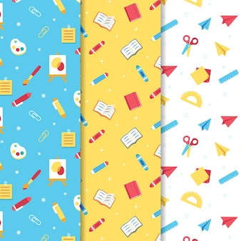 Flat back to school patterns collection
