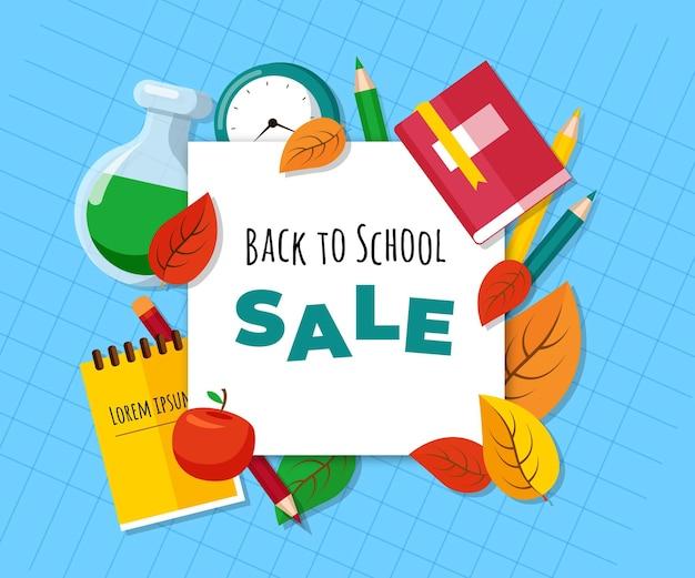 Ritorno piatto a sfondo di vendita della scuola