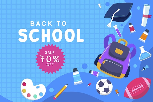 Flat back to school sale background