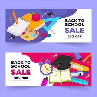 Set di banner di vendita piatta per tornare a scuola