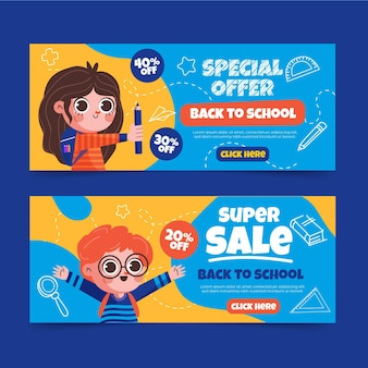 Flat back to school sale banners set