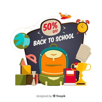 Flat back to school sales background