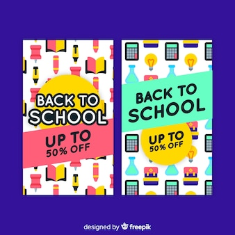 Flat back to school sales banners