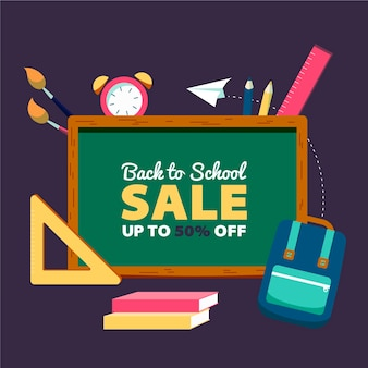 Flat back to school sales concept