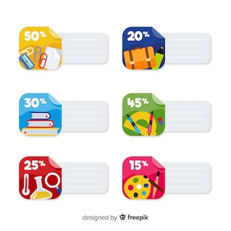 Flat back to school sales labels