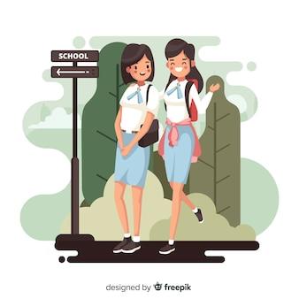 Flat back to school schoolgirls