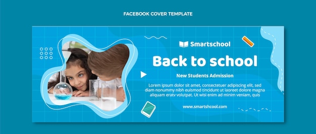 Flat back to school social media cover template
