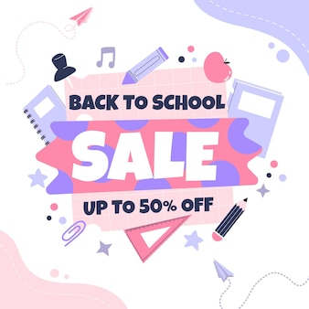 Flat back to school square sale banner template