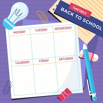 Flat back to school timetable template