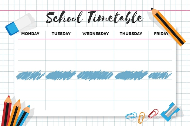 Flat back to school timetable