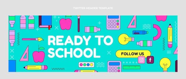 Modello di intestazione twitter flat back to school