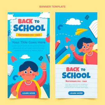 Flat back to school vertical banners set