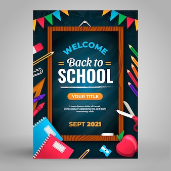 Flat back to school vertical flyer template