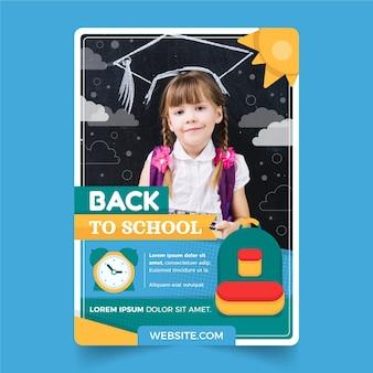 Modello di poster verticale piatto di ritorno a scuola con foto