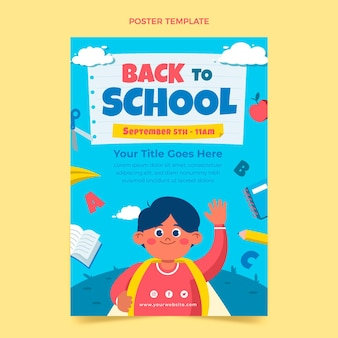 Flat back to school vertical poster template