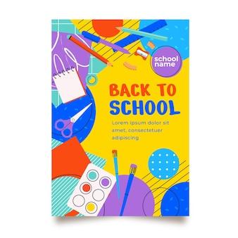 Modello di poster verticale piatto di ritorno a scuola