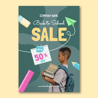 Flat back to school vertical sale flyer template with photo