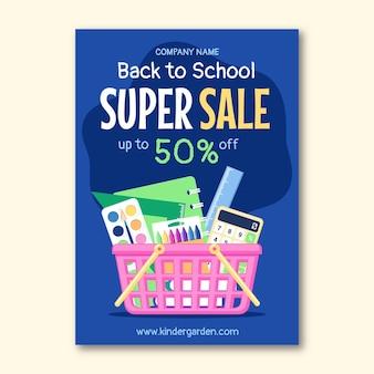 Modello di volantino di vendita verticale di ritorno a scuola piatta