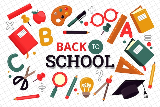 Flat back to school wallpaper